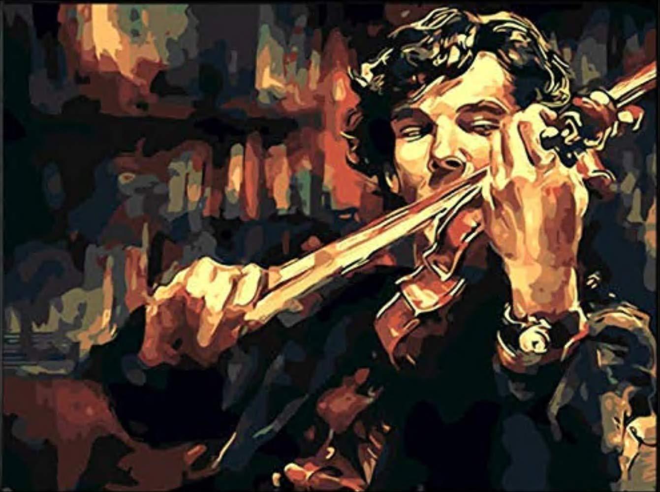 Pintura Al /Óleo Por N/úmeros Diy Pintura Al /Óleo Sherlock Holmes Con Viol/ín Lienzo Pintura Por N/úmeros Kit Pintado A Mano