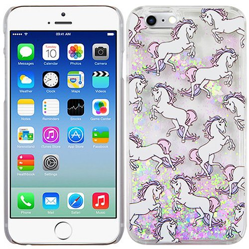 Unicorns Silver Pink Hearts Bling Clear Liquid Water Glitter Bling Case Cover For Apple iPhone 6 6S with Free Pouch (Iphone 6 Cure Case)