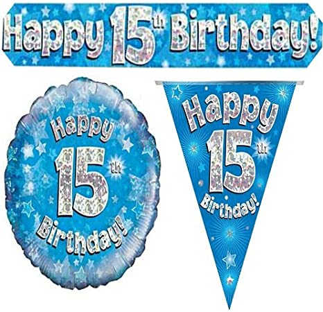 15th Birthday Blue Holographic Banner by Signature Balloons