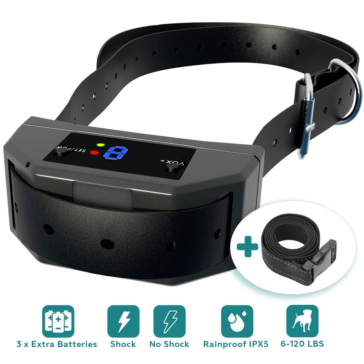 ELZU.US [Newest 2019 Upgraded] Bark Collar w/Upgraded Smart Chip - Best Dog Anti-Barking Collar, Beep/Shock Mode. No Bark Device