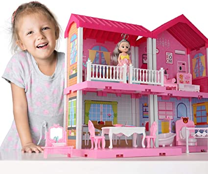 Temi Dollhouse Dreamhouse Building Toys Figure W Furniture Accessories Pets And Dolls Diy Cottage Pretend Play Doll House For Toddlers Boys Girls 4 Rooms Toys Games