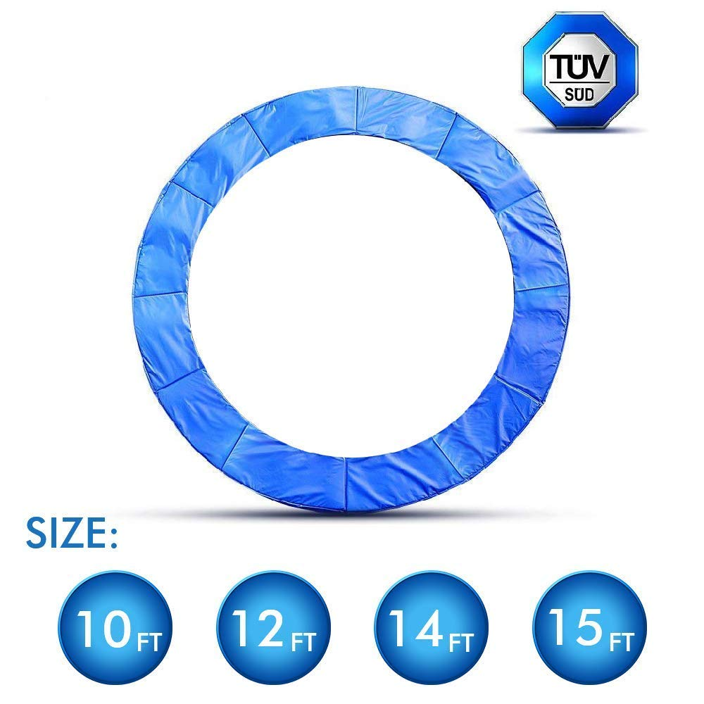ANCHEER 15 14 12 10 Ft Replacement Trampoline Surround PVC Pad Foam Safety Spring Cover Padding Pads (Blue, 10ft)