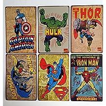 "Uniquelover Superhero Hulk, Superman, American Captain, Iron Man, Batman Marvel Comics Distressed Retro Vintage Metal Tin Sign Wall Decor 12"" X 8"" Inches--6pcs"