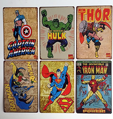 Art Deco Tin - Uniquelover Superhero Hulk, Superman, American Captain, Iron Man, Batman Marvel Comics Distressed Retro Vintage Metal Tin Sign Wall Decor 12