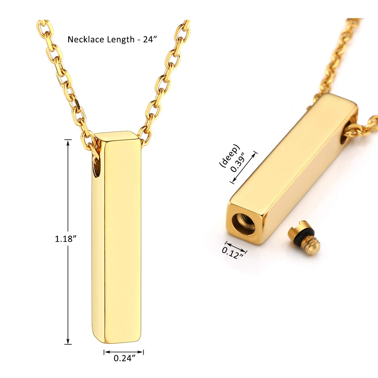 Personalized Master Free Engraving Custom Engraved Stainless Steel Cuboid Spuare Bar Urn Pendant Necklace for Women Men Keepsake Memorial Ashes Cremation Jewelry+Funnel Kit+Gift Box
