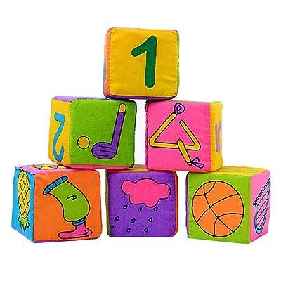 7cm Hochet De Bébé Blocs De Construction De Tissu De Cloche Cube Jouet Ensemble De 6 Pièces