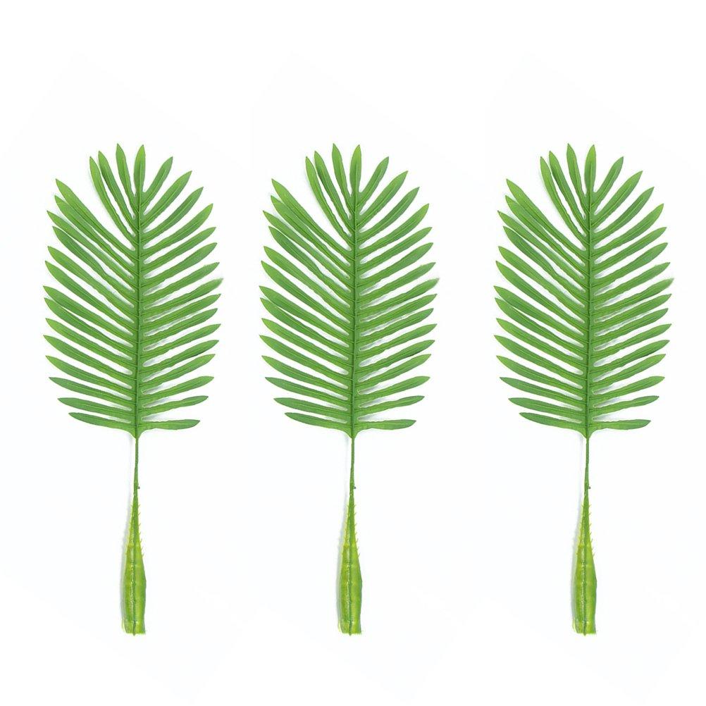 LUOEM 10 pz foglie di palma tropicale artificiale verde singola foglia falso per la casa soggiorno decorazione (verde chiaro)