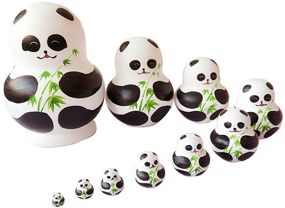 Unigift Cute Animal Panda with Bamboo Handmade Wooden Russian Nesting Dolls Matryoshka Dolls Set 10 Pieces for Kids Toy Home Decoration by Unigift (Image #4)