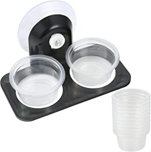 SLSON Gecko Feeder Ledge with 120 Pack 1 oz Plastic Bowls for Reptiles Food and Water Feeding