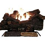 Sure Heat Riverside Oak Vent Free Dual Burner Log Set for Natural Gas Fueled Fireplace, 24-Inch