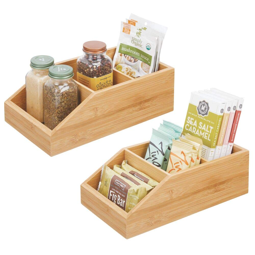 mDesign Bamboo Food Storage Bin with Divided Compartments and Sloped Front for Kitchen Cabinet, Pantry, Shelf for Seasoning Packets, Powder Mixes, Spices, Snacks - Set of 2 - Natural Wood Finish by mDesign