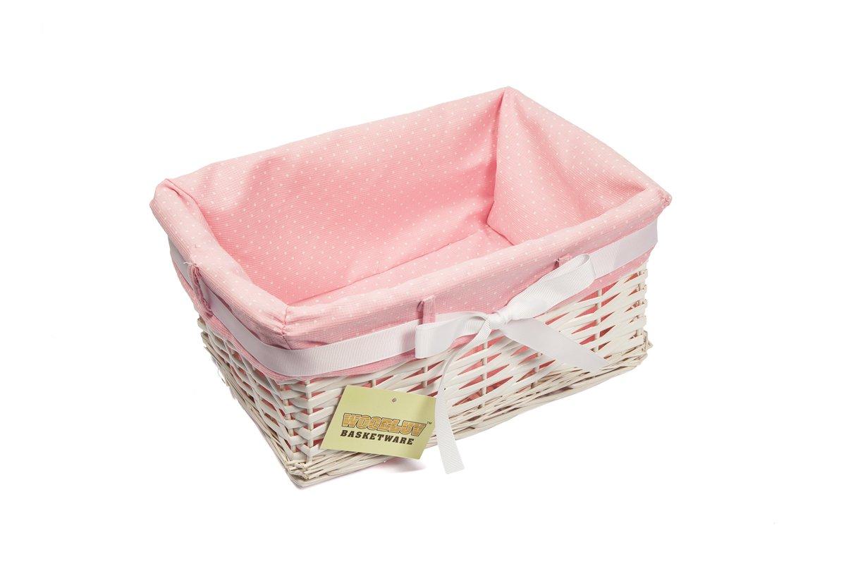 Panier rectangulaire en osier avec garniture en tissu Motif pois Rose//blanc Petit