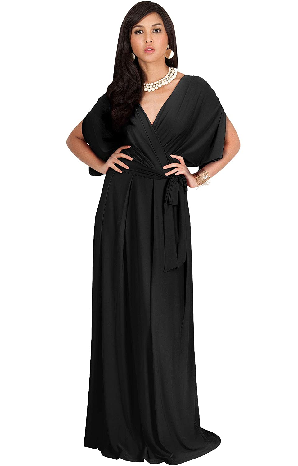 7aeb148604 KOH KOH Formal Short Sleeve Cocktail Flowy V-Neck Gown at Amazon Women s  Clothing store