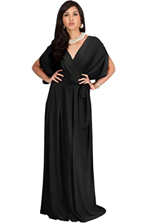 83f68411f9a KOH KOH Petite Womens Long Formal Short Sleeve Cocktail Flowy V-Neck Casual  Bridesmaid Wedding