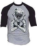 Marilyn Monroe Huge Guns Baseball T-Shirt Black-Gray S-3XL