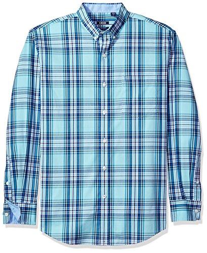Non Iron Shirt - IZOD Men's Advantage Performance Non Iron Stretch Long Sleeve Shirt, Vivid Gulf Stream, Medium