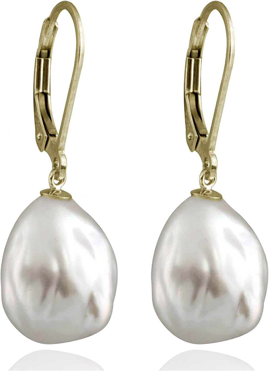 Splendid Pearls Lever-back Dangling Earrings with White Baroque Freshwater Cultured Pearls 10-12mm