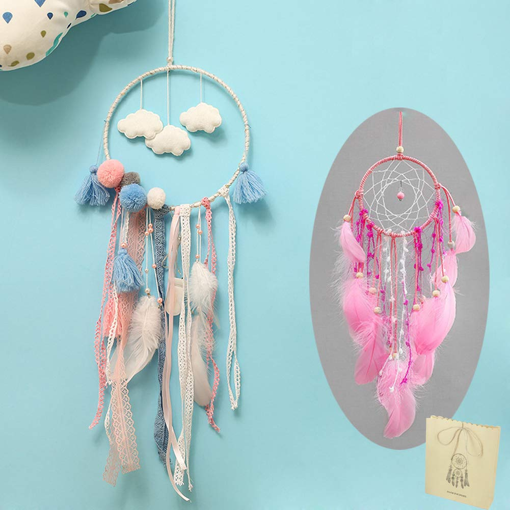 Handmade Dream Catcher,Wall Hanging Home Decor Dream Catcher with Feathers,8.2'' Diameter and 29.5'' LongGift