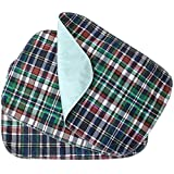 3 PACK - Plaid Small Washable Chair Pad Bed Pad / Small Reusable Incontinence Chair Underpad 18x24 - Perfect For Children And Adults Incontinence Protection