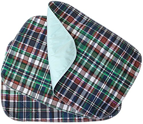 Head2Toe 3 PACK - Plaid Small Washable Chair Pad Bed Pad / Small Reusable Incontinence Chair Underpad 18x24 - Perfect For Children And Adults Incontinence Protection