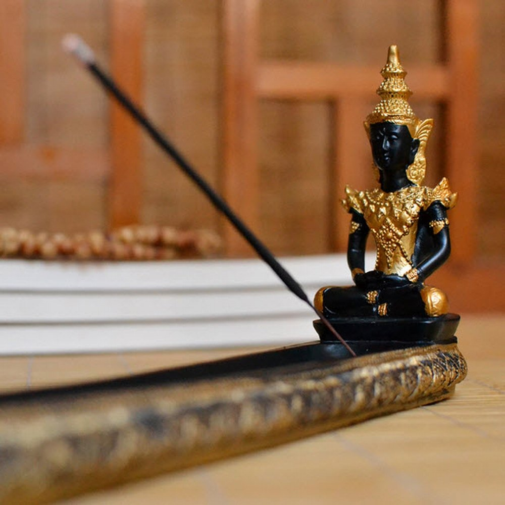 Zen Southeast Asian Style Thai Buddha Statue Incense Board Holder Burner Buddhism Censer Ash Catcher by Tongyou