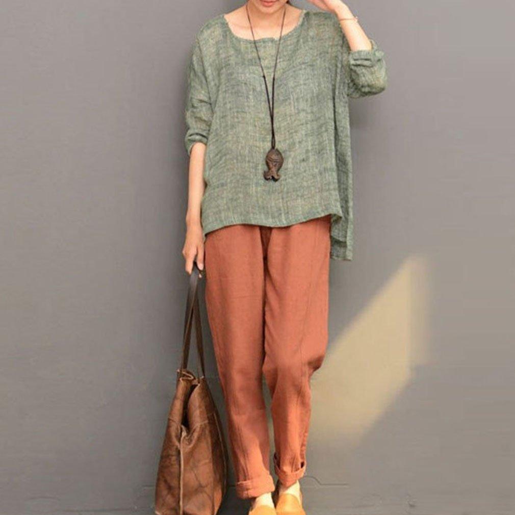 c4814436903 Blusas y camisas 5XL T180430WT1-J Juleya Mujer Camiseta Manga Larga  Oversize Pullover Elegante Algodón Lino T-Shirt Loose Jersey Casual Llanura  Cuello ...