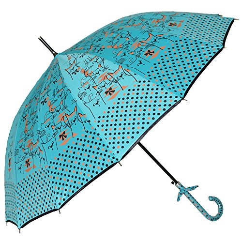 Uniumbrella Polka Dots Cat Animal Print Stick Rain Umbrella, Blue (Umbrella Print)