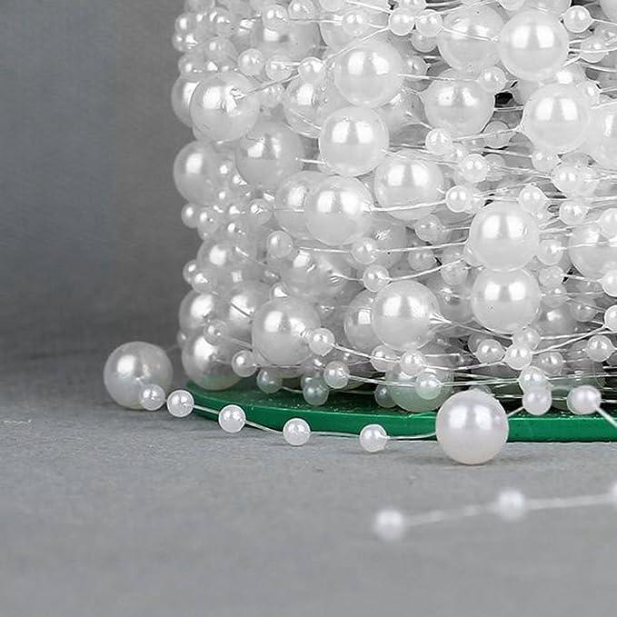 wei/ß rosenice 75/m Perlen Kette Lichterkette Perlen f/ür Hochzeit Basteln Handwerk