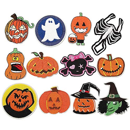 Libiline 12pcs Halloween Pumpkin Skeleton Kid Embroidered Patch Sew On/Iron On Patch Applique Clothes Dress Plant Hat Jeans Sewing Flowers Applique DIY Accessory (Halloween-Styles) -