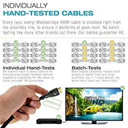 Mediabridge HDMI Cable (50 Feet) - Supports 4K@30Hz - High Speed, Hand-Tested, HDMI 2.0 Ready - UHD, 18Gbps, Audio Return Channel, Ethernet (Part# 91-02X-50B)
