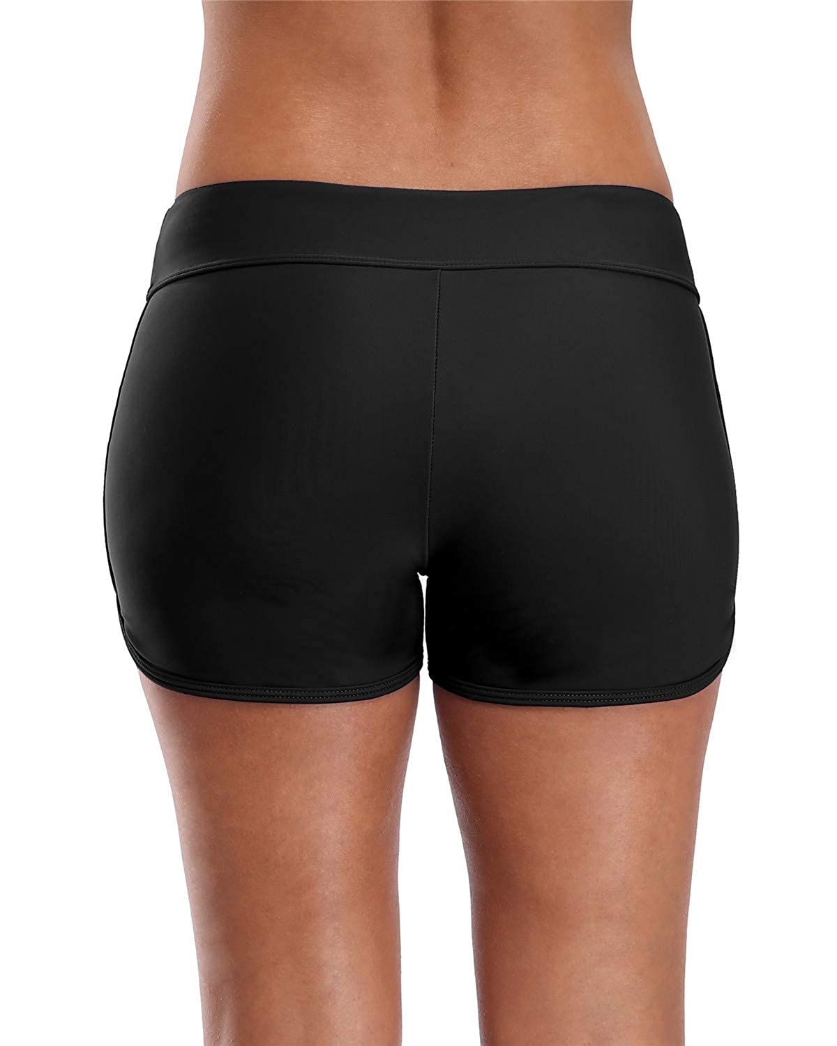 ALove Womens Solid Swim Shorts Stretch Board Shorts Swimsuit Bottoms