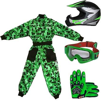 Leopard LEO-X19 Verde Casco de Motocross para Niños (XL 55cm) + Gafas + Guantes (XL 8cm) + Camo Traje de Motocross para Niños - S (5-6 Años)