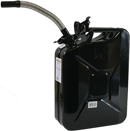 Stahlblechkanister Schwarz 20 Liter Dieselauslaufrohr Flexibel Benzinkanister Set Auto