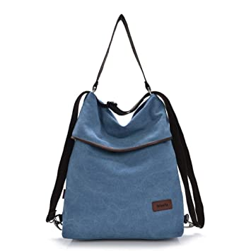 dfc0fecc350a7 Nlyefa Damen Handtasche Rucksack Canvas Tasche Umhängentasche  Schultertasche 2 in 1 Multibag