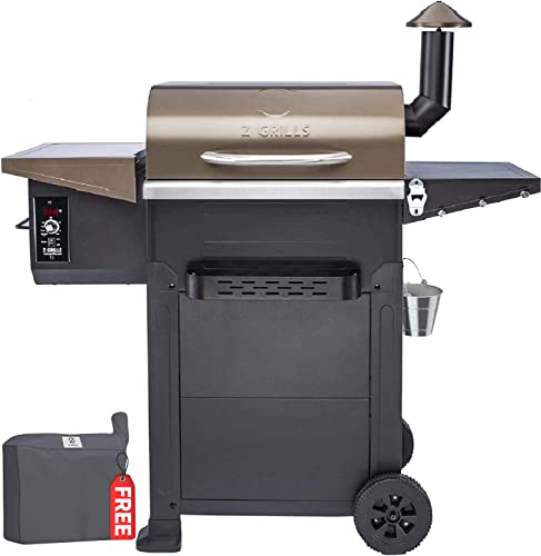 Z GRILLS Wood Pellet Grill Smoker,8 in 1 BBQ Grill Outdoor Smoker with 600 sq in Cooking Area, Auto Temperature Control Pellet Smoker ZPG-L6002B -Bronze