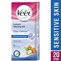 Veet Full Body Waxing Kit for Sensitive Skin, 20 strips