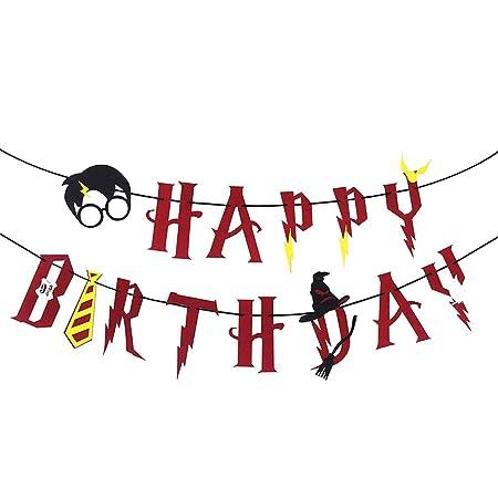 highouse Eficaz Harry Potter Fiesta Suministros – Letrero Feliz Cumpleaños Fieltro Guirnalda Decoración Fiesta, Negro - Rd