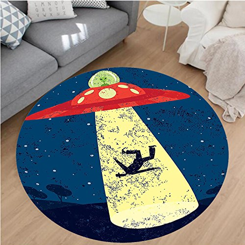 - Nalahome Modern Flannel Microfiber Non-Slip Machine Washable Round Area Rug-ce Decor Distressed Graphic of Alien Abduction of Human Science Fiction Image Blue Yellow area rugs Home Decor-Round 24