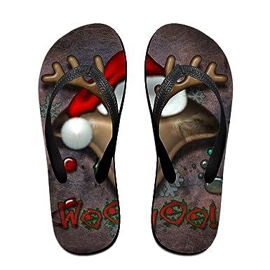 Couple Flip Flops 30-happy-christmas-wallpaper-download-12 Print Chic Sandals Slipper Rubber Non-Slip Spa Thong Slippers