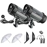 Neewer 600W Studio Strobe Flash Photography Lighting Kit:(2)300W Monolight,(2)Softbox,(1)RT-16 Wireless Trigger,(2)33 inches Translucent Umbrella for Video Portrait Location Shooting(N-300W)