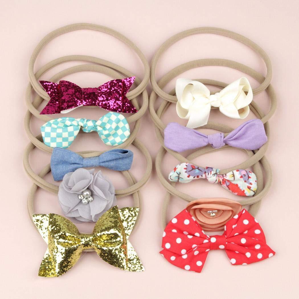 Free Venus 10Pezze//Set Fascia per capelli casual per bambini Bowknot floreale a pois moda bambina Fasce