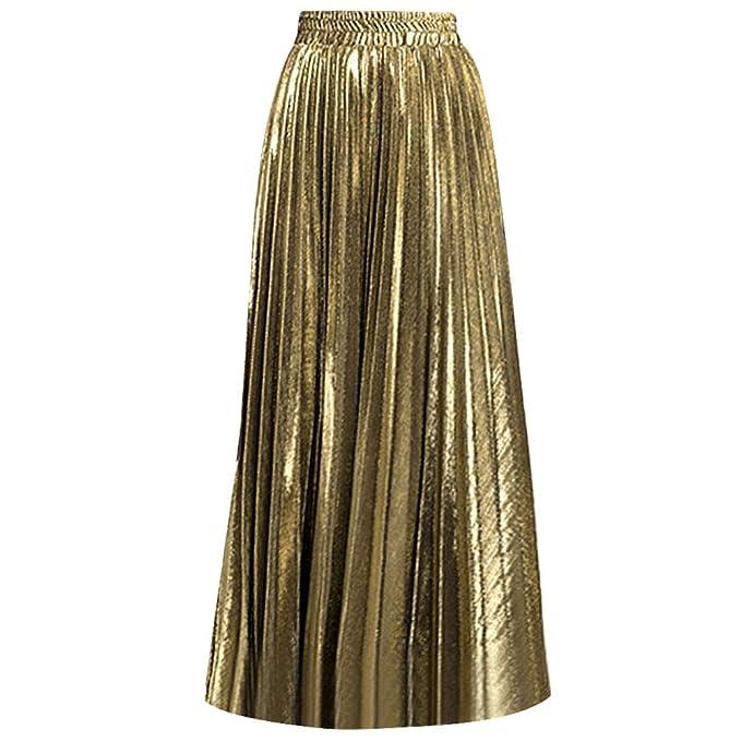 99be10e8d2 Rebecca Women's Midi Skirt Long Pleated Skirt Shiny Shimmer A Line High  Waist Skirts (Gold