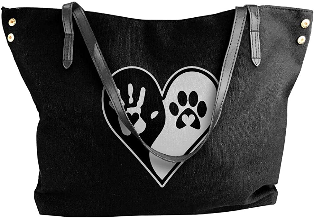 Womens Canvas Tote Bag,Hand Paw Print Dog Cat Paw-1 Printing Shoppingbags For Girls