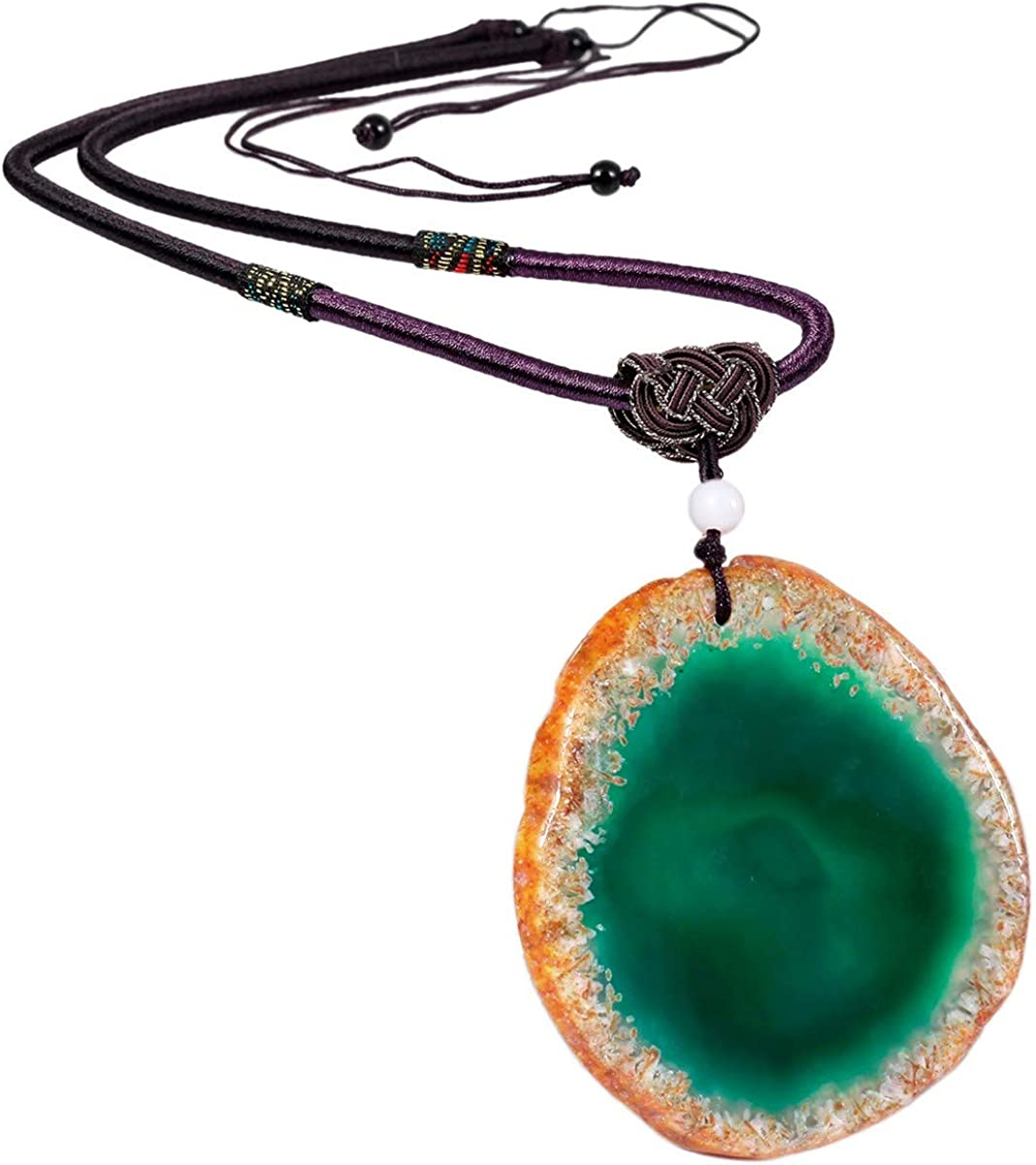 "SUNYIK Natural Agate Slice Stone Pendant with Chain for Women, Healing Crystal Necklace for Men, Adjustable 17""-29"" Strand"