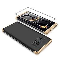 AILZH Samsung Galaxy Note 9 Hülle 360 Grad HandyHülle PC Hartschale Anti-Schock Schutzhülle Anti-Kratz Stoßfänger Bumper 360° Cover Case Schutzkasten+Screen Protector(Gold und Schwarz)