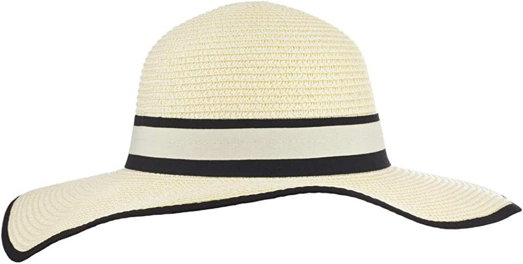 Lux Accessories Ivory and Black Contrast Fedora Canvas Straw Vacation Summer Hat