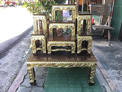 Home Decor, Thai Wood Carving Buddha Table Set Shelf Statue Figurine Stand, Thailand, 60 cm. Long x 50 cm. Width.x 70 cm. High(base table) Oak, Products From Thailand by WADSUWAN SHOP
