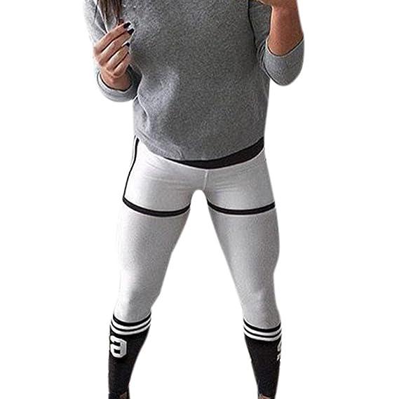 ❤️ Pantalones Yoga Mujeres, Manadlian Mujer Pantalones Largos deportivos Leggings para Running Pantalones deportivos (CN:M, Blanco)