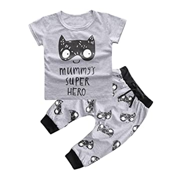 a0a8b5fe4 Image Unavailable. Image not available for. Color: 1Set Newborn Baby Boys  Girls Outfit Printed T-shirt Tops+Pants ...
