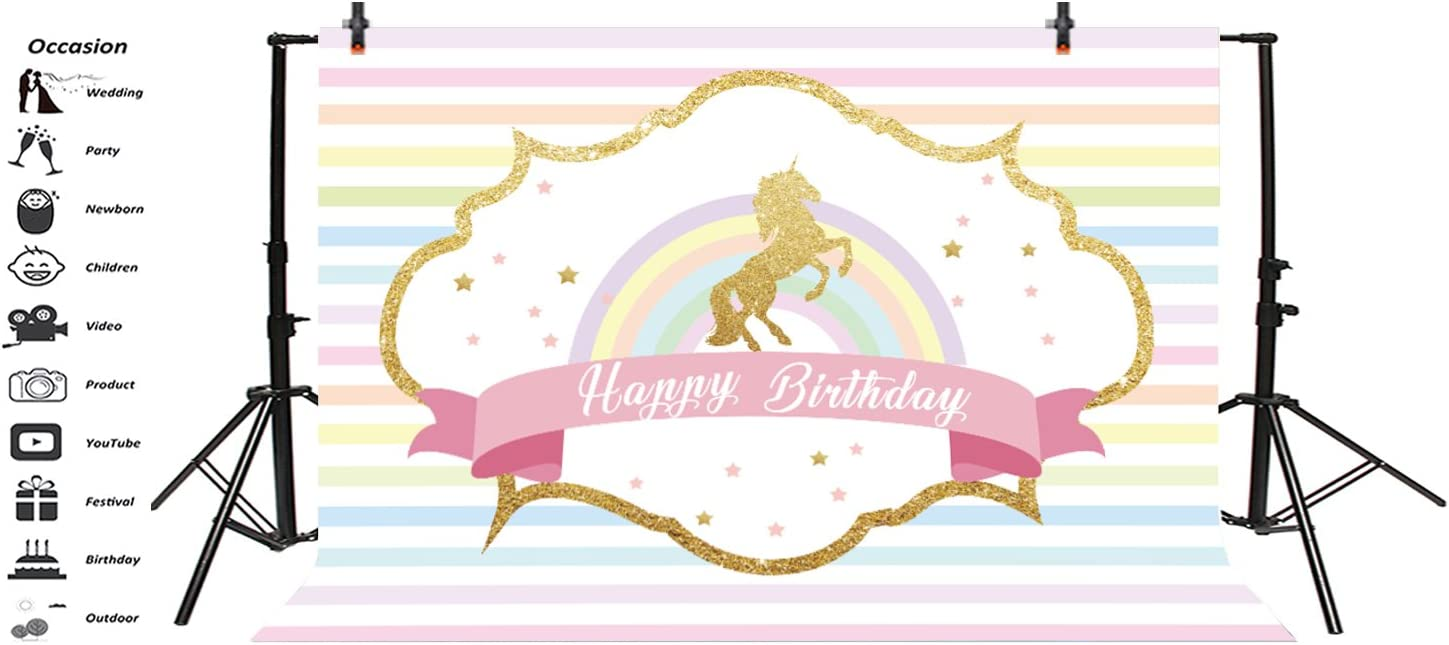 LFEEY 7x5ft Polyester Glitter Gold Unicorn Backdrops for Photography Rainbow Colorful Stripes Happy Birthday Party Photo Background Cloth Photo Studio Props Drapes Curtains Panels No Wrinkle